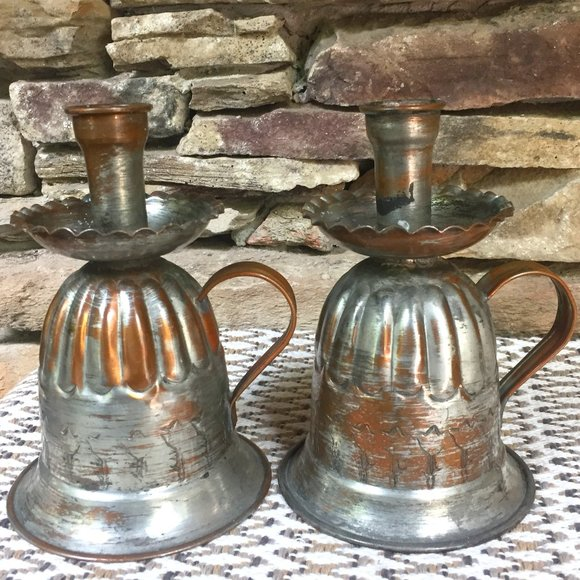 VTG Copper on Silver Bohemian Candle Holders Lot 2